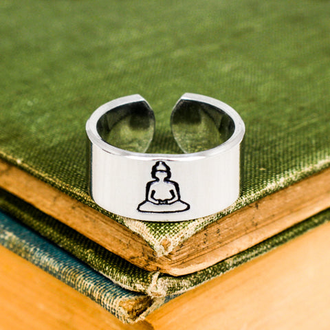 Buddha Ring - Lotus - Adjustable Aluminum Ring - It Came From the Internet