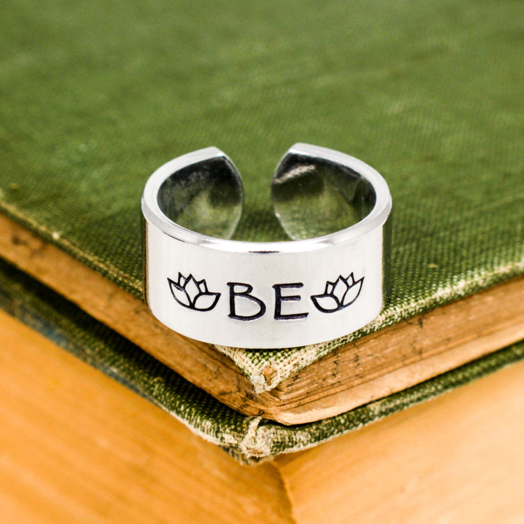 "Just ""Be"" - Lotus - Adjustable Aluminum Ring - It Came From the Internet"