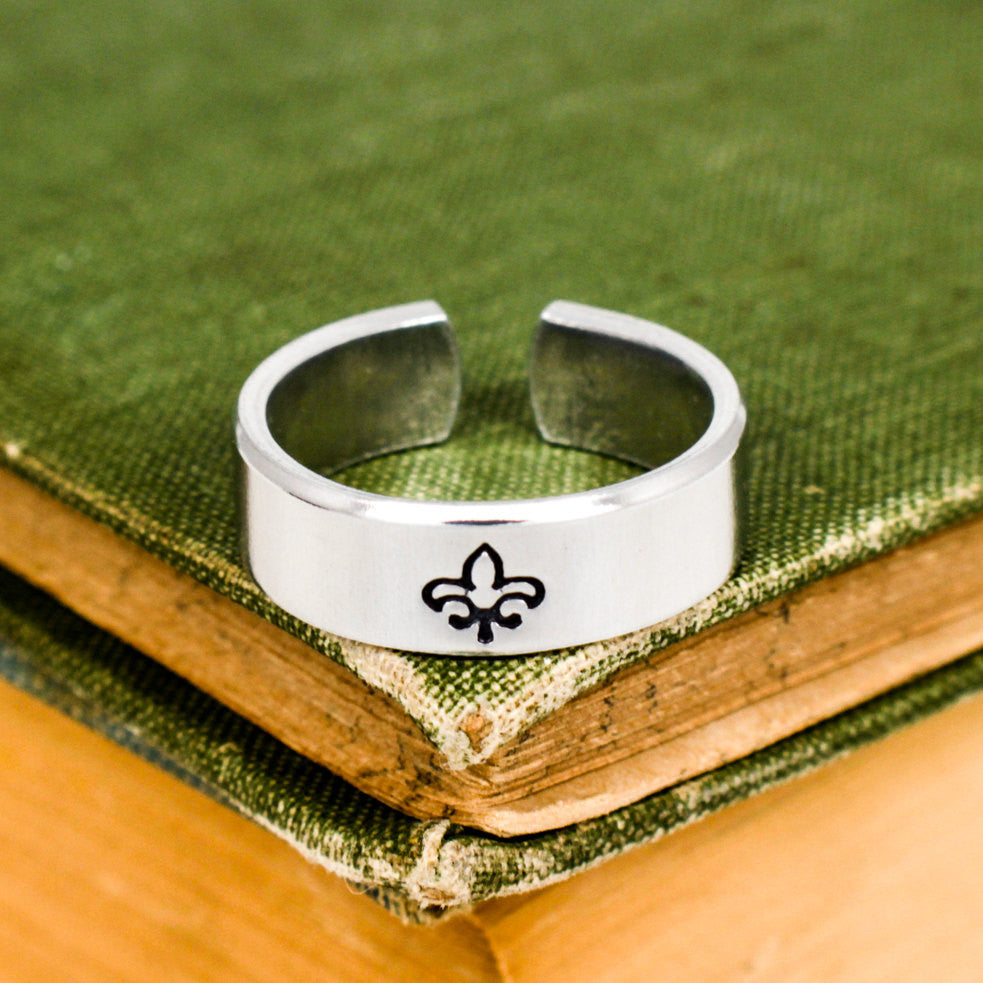 Fleur de Lis Ring - Adjustable Aluminum Cuff Ring - It Came From the Internet