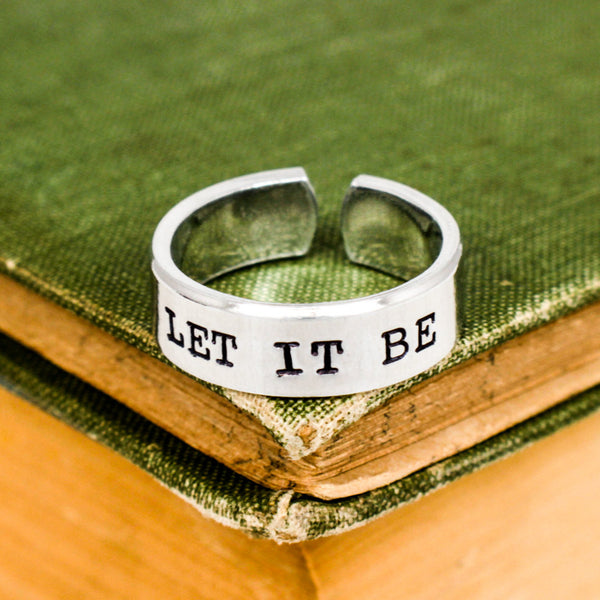 Let It Be Cuff Ring - Radiating Heart -  Adjustable Aluminum Ring - It Came From the Internet
