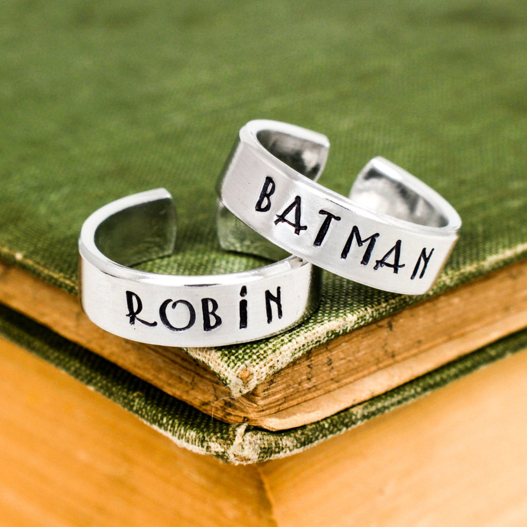 Batman and Robin Ring Set - Best Friends - Couples Ring Set Style B - It Came From the Internet