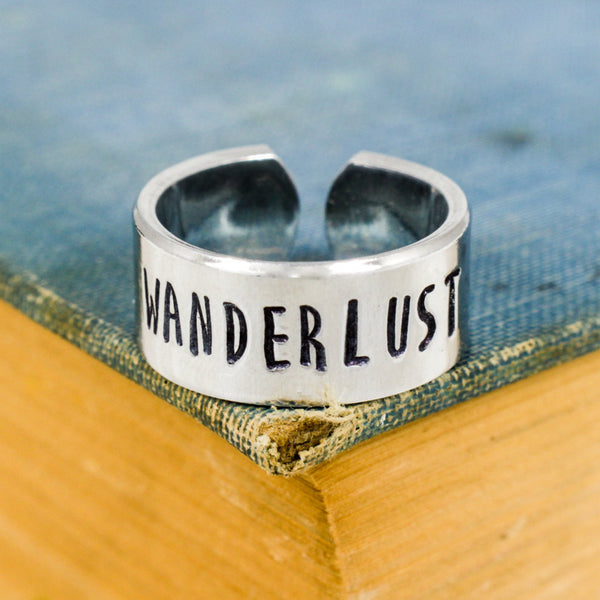 Wanderlust Ring - Travel - Adventure - Adjustable Aluminum Cuff Ring
