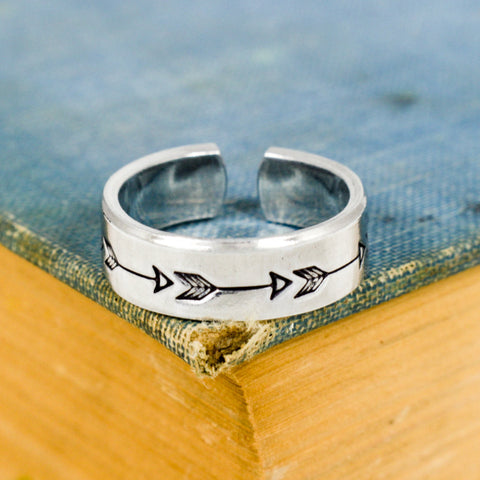 Arrow Ring - Affirmations - Travel - Adventure - Adjustable Aluminum Cuff Ring - It Came From the Internet