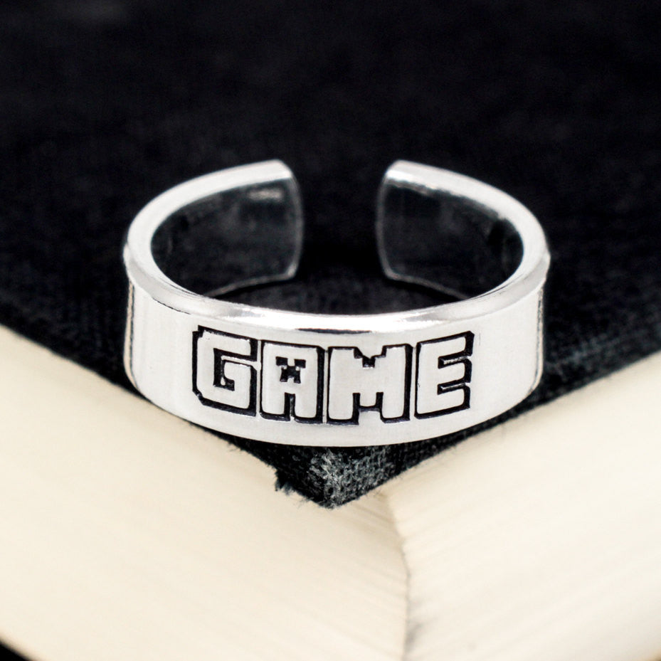 Game Ring - Video Game Jewelry - Adjustable Aluminum Cuff Ring - It Came From the Internet