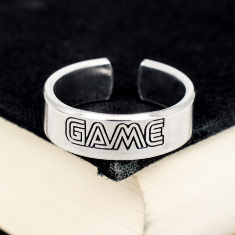 Retro Game Ring - Classic Video Game Jewelry - Adjustable Aluminum Cuff Ring - It Came From the Internet