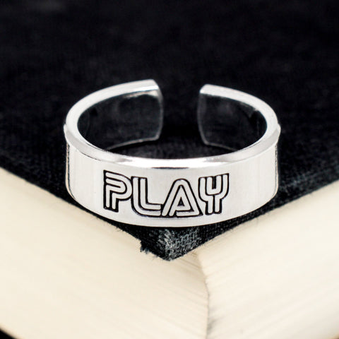 Retro Play Ring - Classic Video Game Jewelry - Adjustable Aluminum Cuff Ring - It Came From the Internet