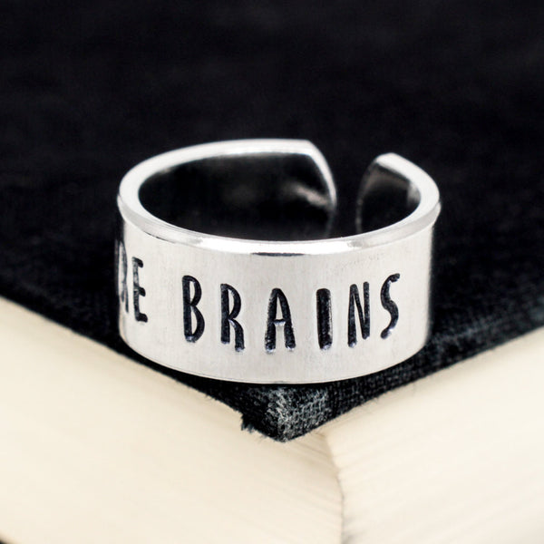 More Brains Ring - Zombies - Adjustable Aluminum Cuff Ring - It Came From the Internet
