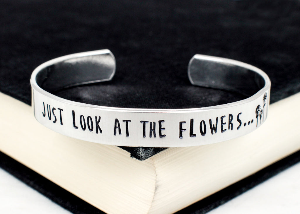 Just Look at the Flowers - The Walking Dead - Zombie -  Adjustable Aluminum Bracelet - It Came From the Internet