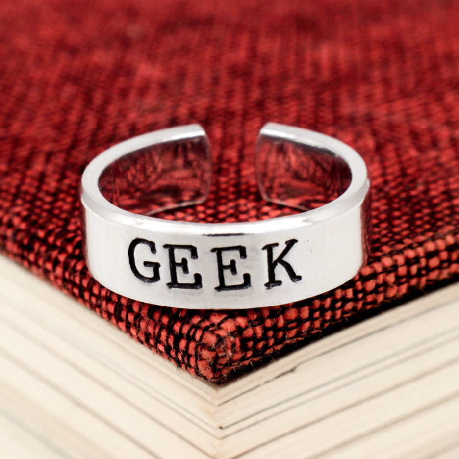 Geek Ring - Geekery - Adjustable Aluminum Cuff Ring - It Came From the Internet