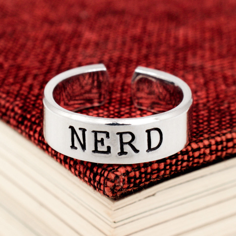 Nerd Ring - Geekery - Adjustable Aluminum Cuff Ring - It Came From the Internet