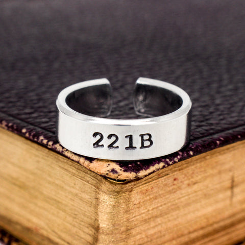 221B - Sherlock - Adjustable Aluminum Cuff Ring A - It Came From the Internet