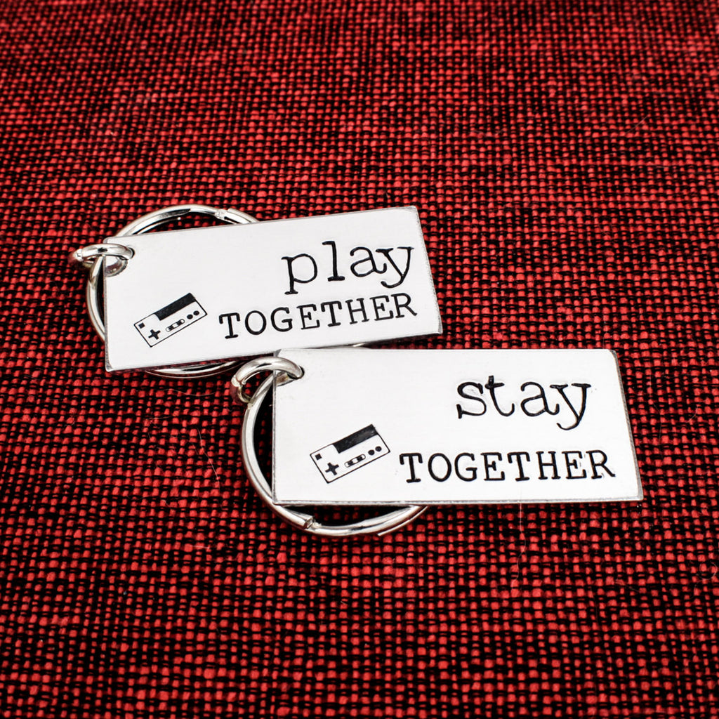 Play Together and Stay Together Keychain Set - Nintendo - Gamer Couples - Video Games - Aluminum Key Chains - It Came From the Internet