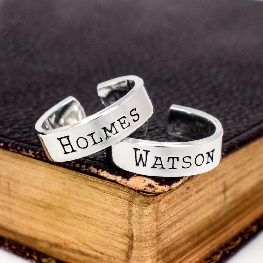 Holmes and Watson Ring Set - Best Friends - Sherlock Holmes - Friendship Rings - It Came From the Internet