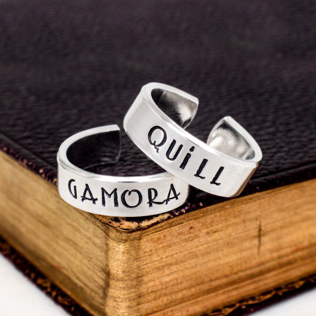 Quill and Gamora - Guardians of the Galaxy - Couples Jewelry -  Adjustable Aluminum Cuff Ring Set - It Came From the Internet