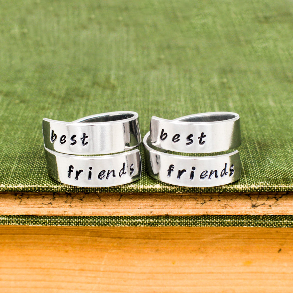 Best Friends Forever Rings - Friendship Rings - Adjustable Aluminum Wrap Ring Set - It Came From the Internet