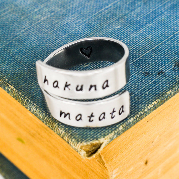 Hakuna Matata Ring - Adjustable Aluminum Wrap Ring - It Came From the Internet