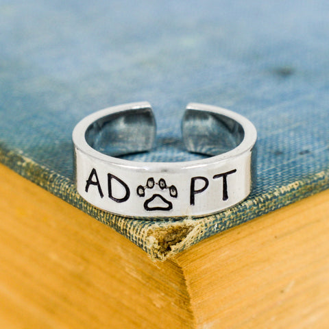 Adopt - Animal Rescue - Pets - Adjustable Aluminum Ring - It Came From the Internet