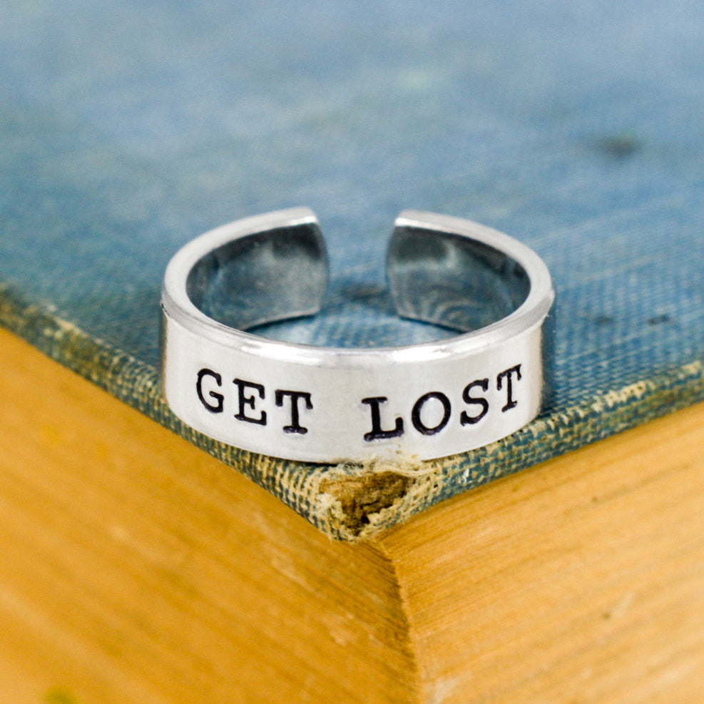 Get Lost - Hiking - Mountains - Adjustable Aluminum Ring - It Came From the Internet