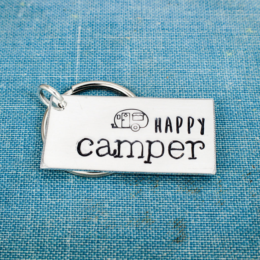 Happy Camper - Camping - Hiking - Aluminum Key Chain - It Came From the Internet