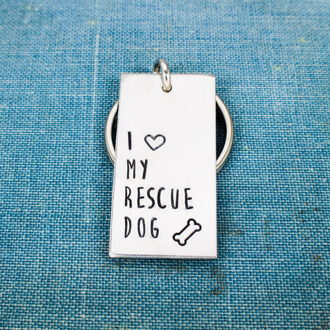 I Love My Rescue Dog - Animal Rescue - Pets - Aluminum Key Chain - It Came From the Internet