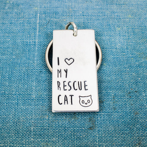 I Love My Rescue Cat - Animal Rescue - Pets - Aluminum Key Chain - It Came From the Internet