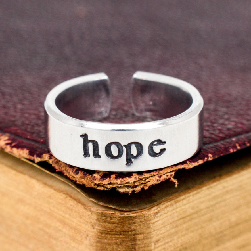 Hope Ring - Affirmations - Adjustable Aluminum Cuff Ring - It Came From the Internet