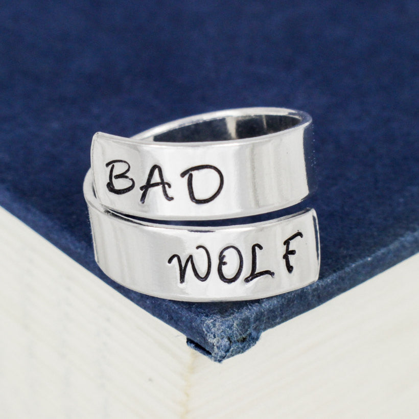 Bad Wolf - Doctor Who - Adjustable Aluminum Wrap Ring - Style B - It Came From the Internet