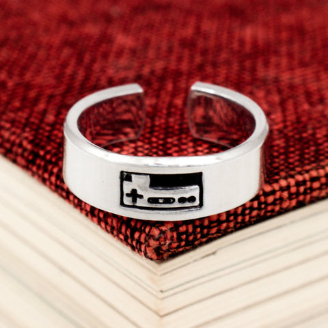 Classic Gaming Controller Ring - Video Game Jewelry - Nintendo - Adjustable Aluminum Cuff Ring - It Came From the Internet