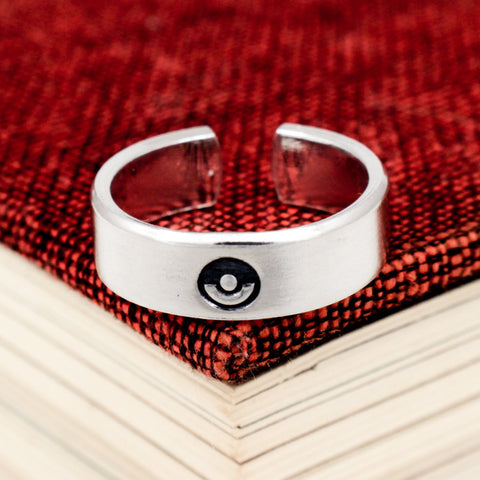 Pokeball Ring - Pokemon - Video Game Jewelry - Adjustable Aluminum Cuff Ring