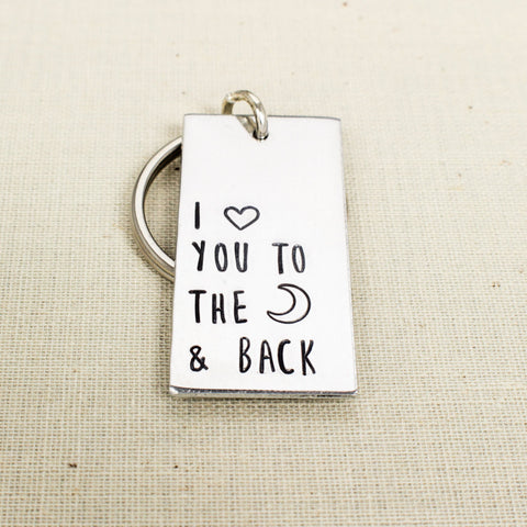 I Love You To The Moon & Back Key Chain - Inspirational - Friendship - Aluminum Key Chain - It Came From the Internet