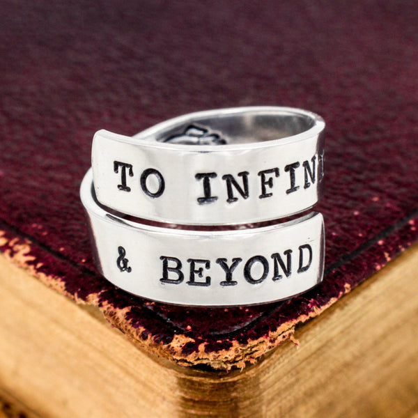 To Infinity and Beyond Ring - Rocket Ship - Adjustable Aluminum Wrap Ring