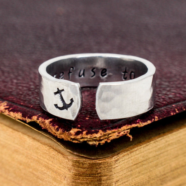 I Refuse to Sink Ring - Secret Message Ring -  Affirmations - Aluminum Hand Stamped Ring - It Came From the Internet