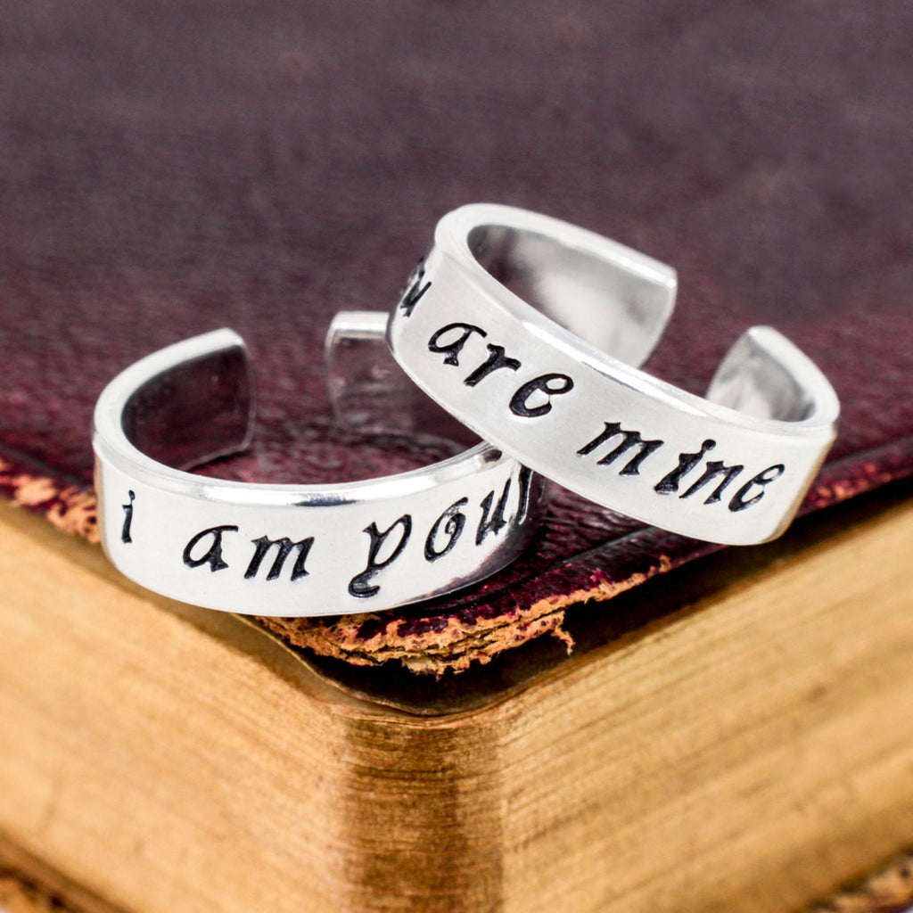 I am Yours and You are Mine - Game of Thrones - Adjustable Aluminum - Couples Ring Set - It Came From the Internet