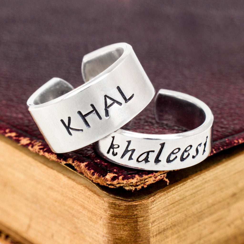 Khal and Khaleesi - Game of Thrones - Adjustable Aluminum Ring Set - It Came From the Internet