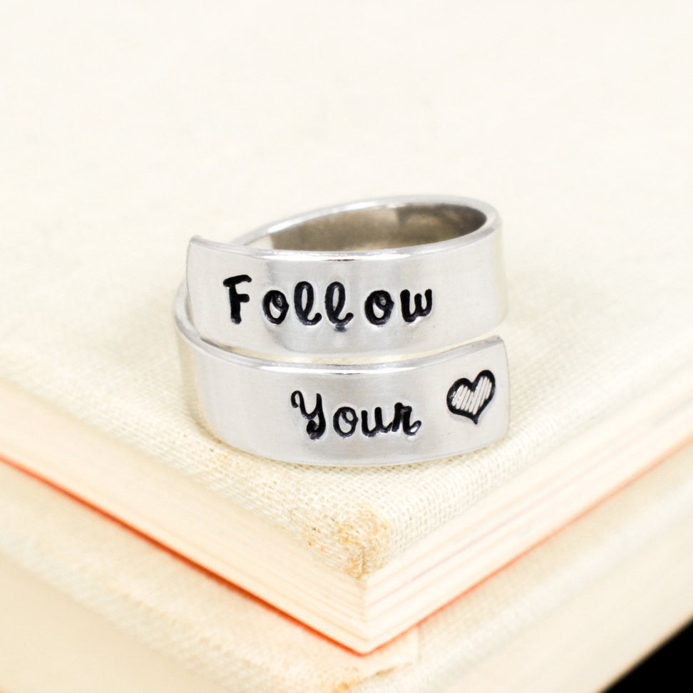 Follow Your Heart Ring - Affirmation - Adjustable Aluminum Wrap Ring - It Came From the Internet