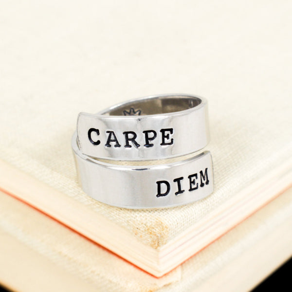 Carpe Diem Ring - Sun - Adjustable Aluminum Wrap Ring - It Came From the Internet