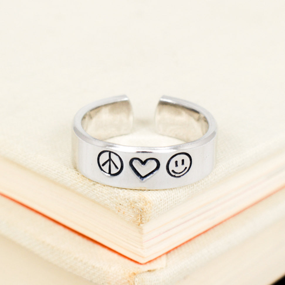 Peace Love and Happiness - Aluminum Hand Stamped Ring - It Came From the Internet