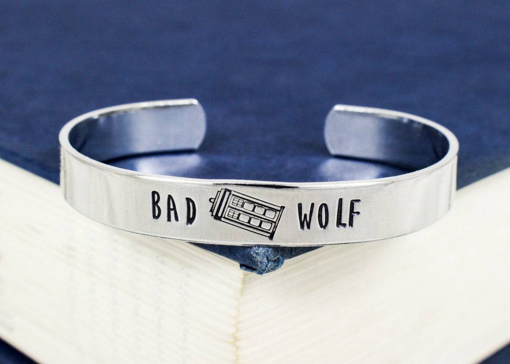 Bad Wolf Bracelet - Tardis - Doctor Who - Adjustable Aluminum Bracelet - It Came From the Internet