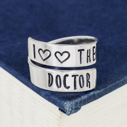 I Love the Dr. - Doctor Who - Adjustable Aluminum Wrap Ring - It Came From the Internet