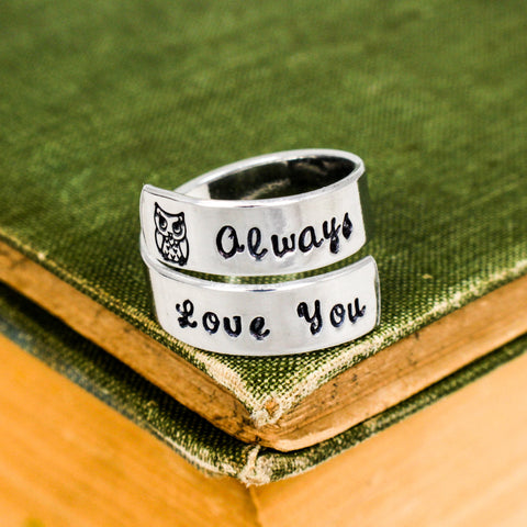 Owl (I'll) Always Love You - Owl - Affirmation Jewelry - Adjustable Aluminum Wrap Ring - It Came From the Internet