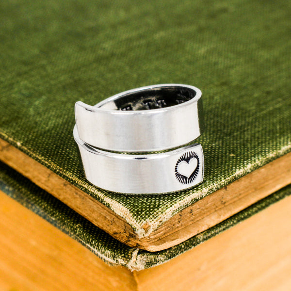 Let It Be Ring - Radiating Heart -  Adjustable Aluminum Wrap Ring - It Came From the Internet