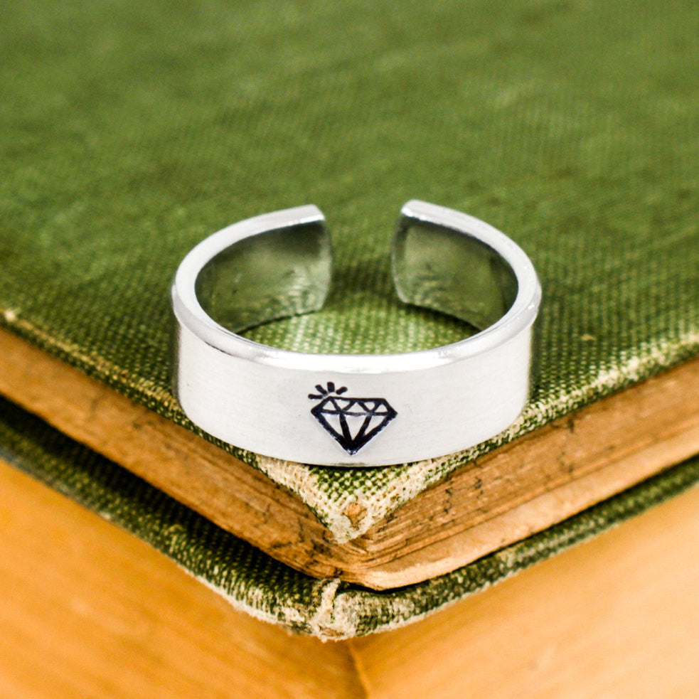 Diamond Ring - Gag gift - Aluminum Hand Stamped Ring - It Came From the Internet