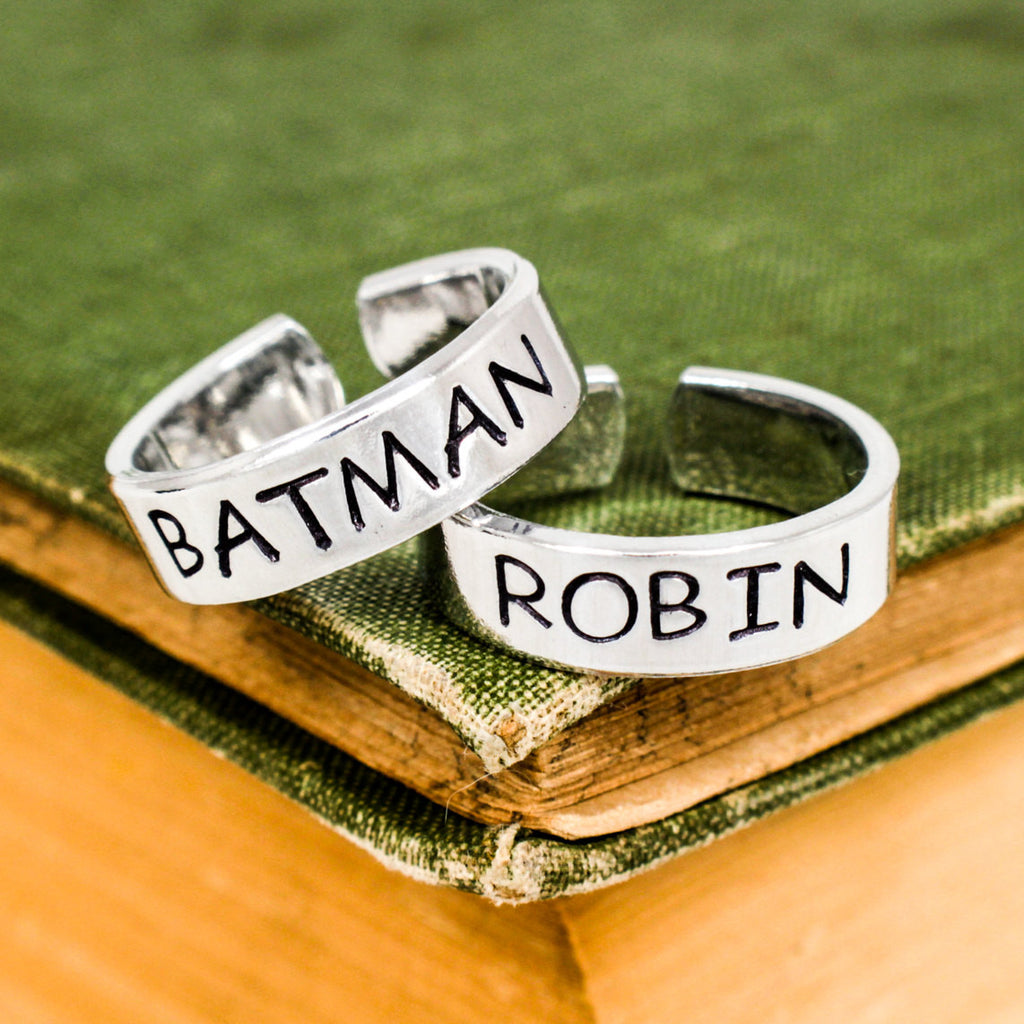 Batman and Robin Ring Set - Best Friends - Couples Ring Set - It Came From the Internet