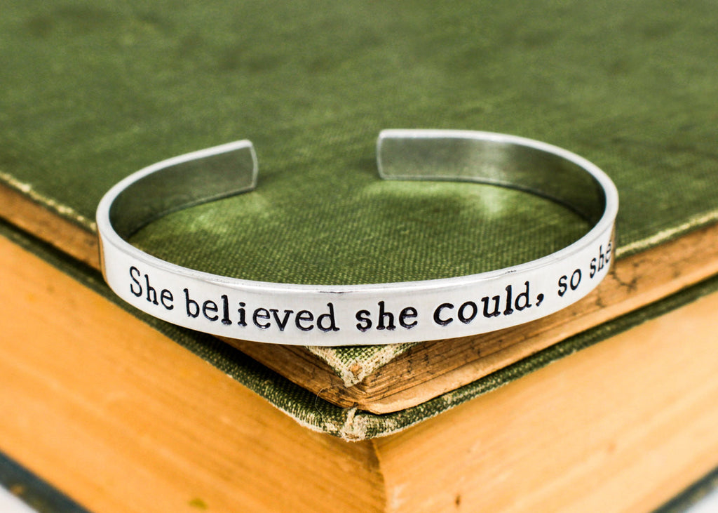She Believed She Could So She Did - Inspirational Quote - Adjustable Aluminum Bracelet