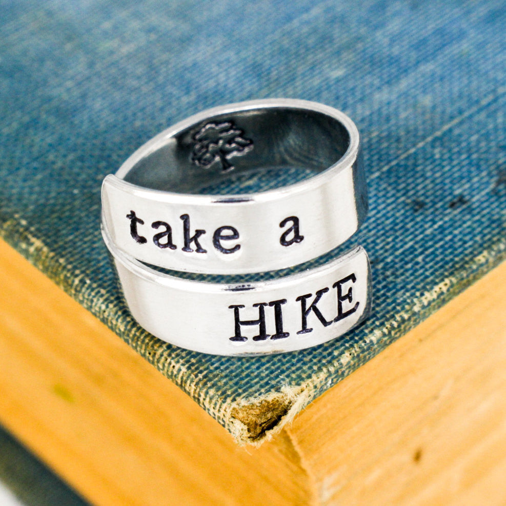 Take A Hike Ring - Hiking - Outdoors - Explore - Nature - Adjustable Aluminum Cuff Ring