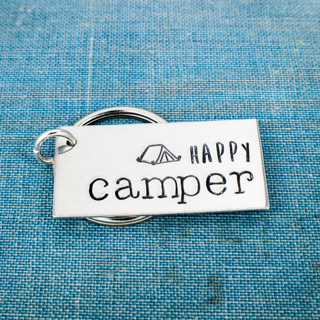 Happy Camper - Tent Camping - Nature - Adventure - Outdoors - Aluminum Key Chain - It Came From the Internet