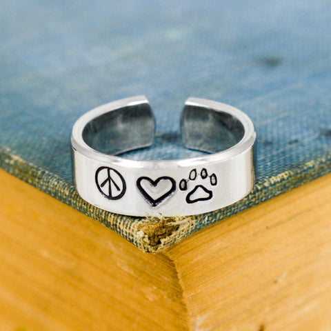Peace Love and Pets - Animal Rescue - Pets - Adjustable Aluminum Ring - It Came From the Internet