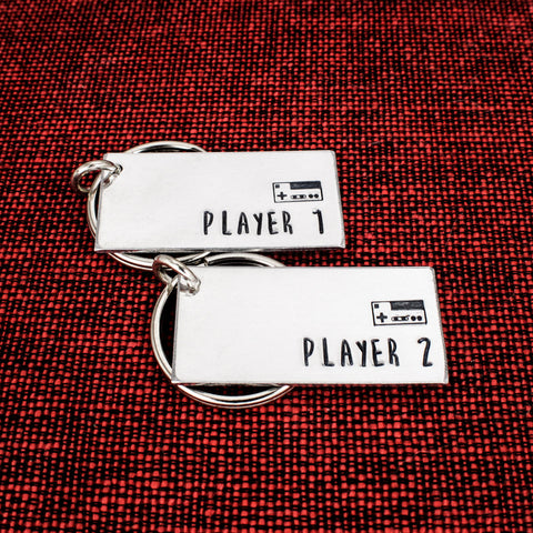 Player 1 and Player 2 Keychain Set - Nintendo - Gamer Couples - Video Games - Aluminum Key Chains - It Came From the Internet