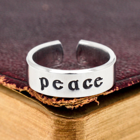Peace Ring - Affirmations - Adjustable Aluminum Cuff Ring - It Came From the Internet