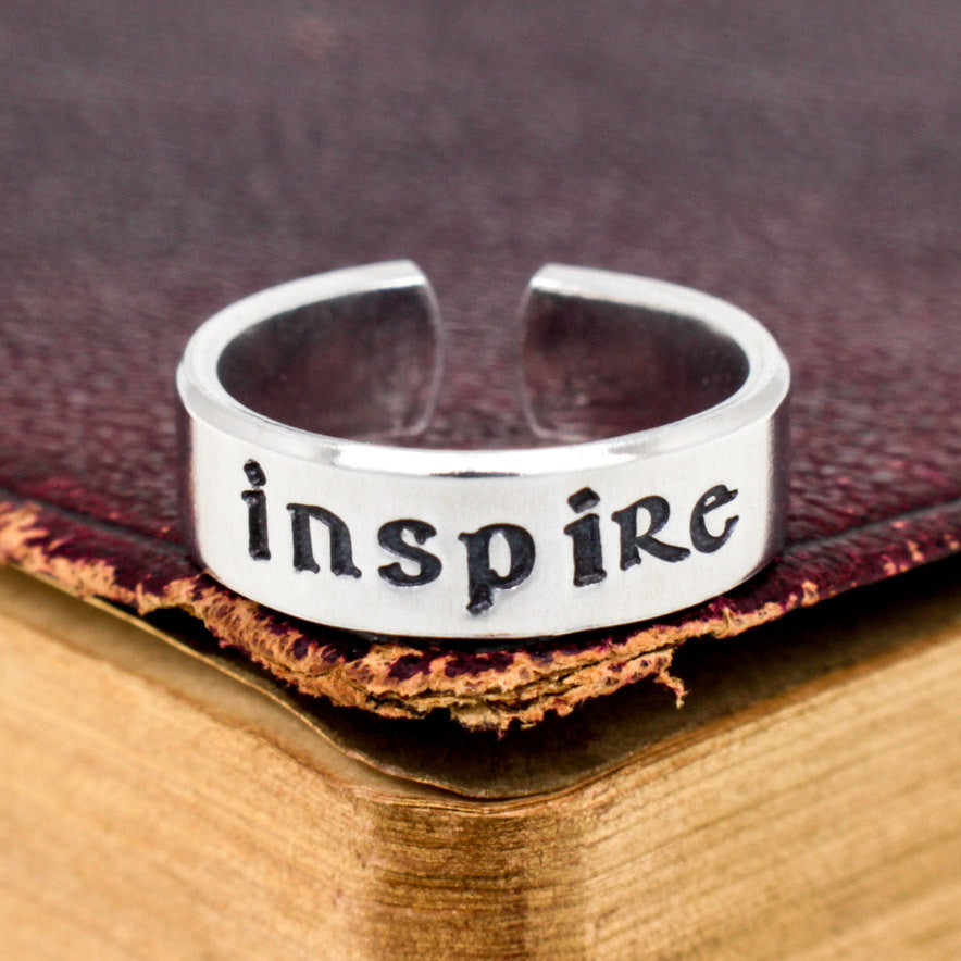 Inspire Ring - Affirmations - Adjustable Aluminum Cuff Ring - It Came From the Internet